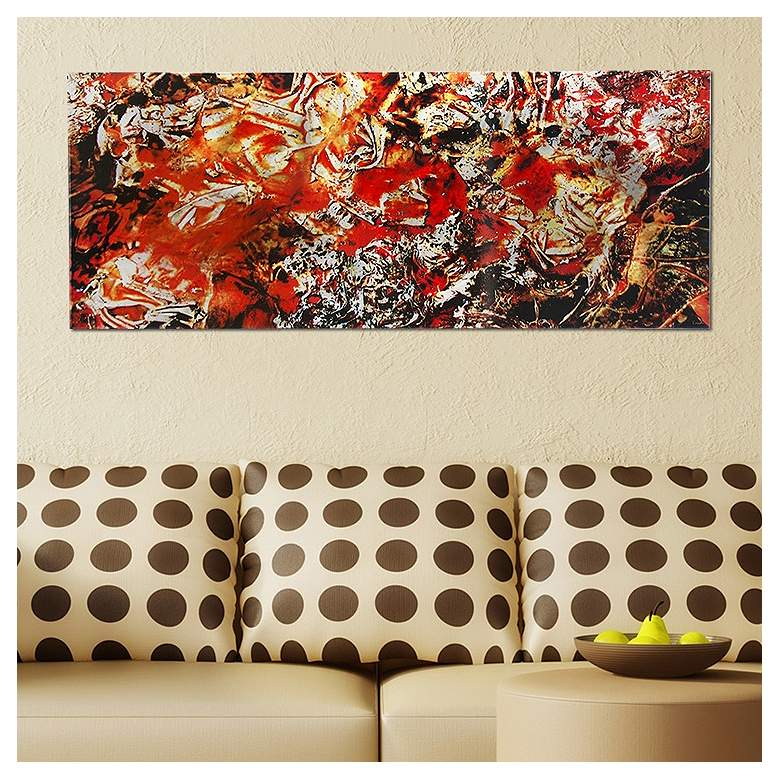 "Cinders Red and Orange Paint 48"" Wide Metal Wall Art"