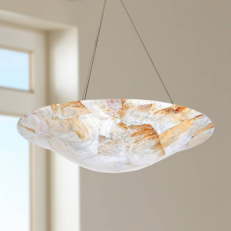 "Varaluz Big 24"" Wide Kabebe Shell Chandelier"