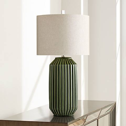 Allison Green Ceramic Ribbed Table Lamp