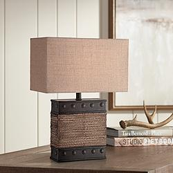 Lite Source Sailor Dark Natural Rope Accent Table Lamp
