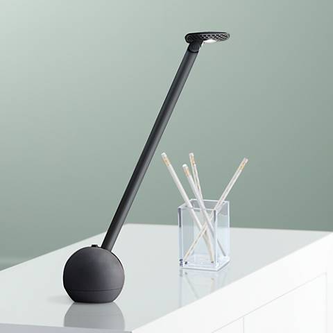 KIU Adjustable LED Desk Lamp with Telescoping Arm in Black