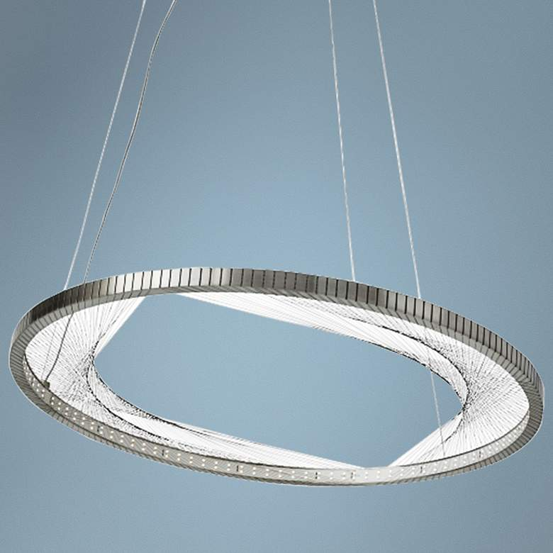 "Interlace 30"" Wide Satin Nickel Ring LED Pendant Light"