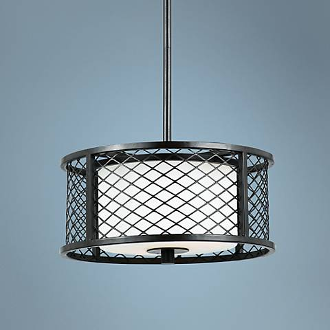 "Dublin Bronze 2-Light 12"" Wide Cage Mini-Pendant"