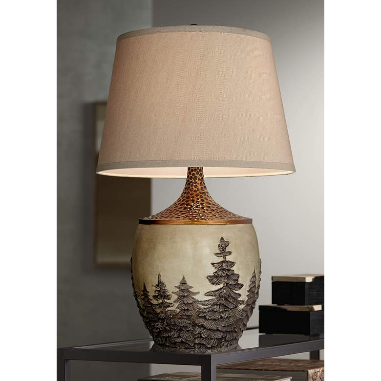 Great Forest Table Lamp with Dacca Fabric Shade
