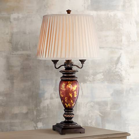 Haines Tortoise Shell Metal and Glass Urn Table Lamp