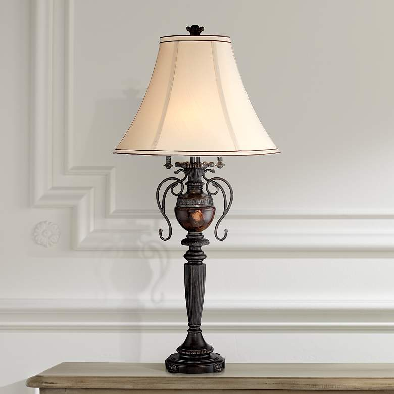 Edwardian Tortoise Shell Font Urn Table Lamp by