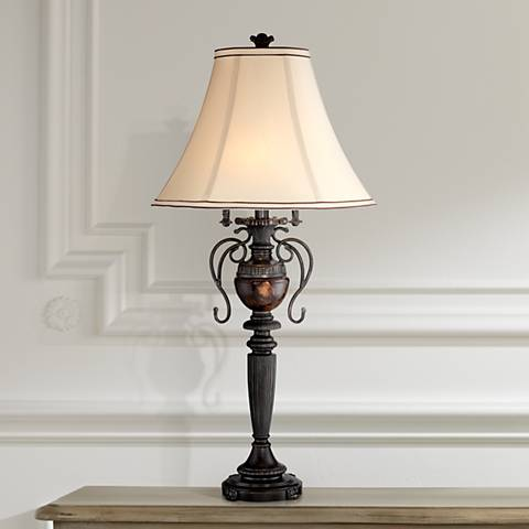 Edwardian Tortoise Shell Font Urn Table Lamp by Regency Hill