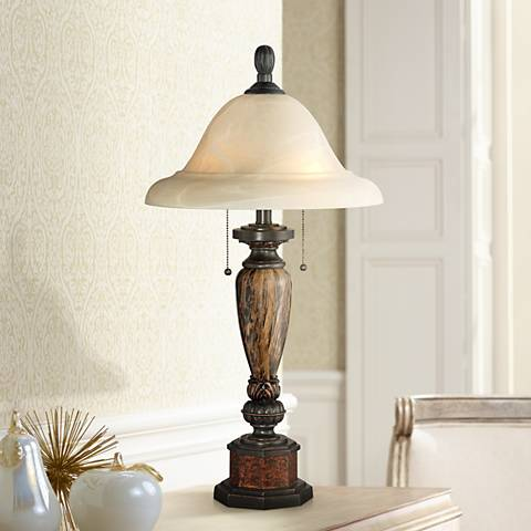 Kathy Ireland Sonnett Bronze Alabaster Glass Table Lamp