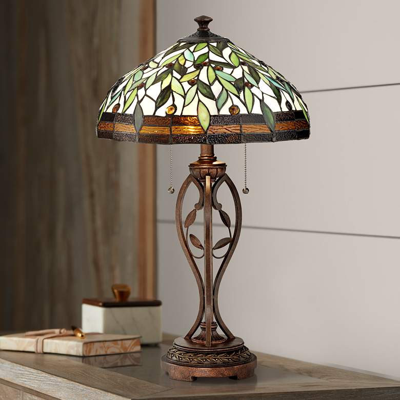 Blossoming Leaf and Vine Bronze Tiffany Table Lamp