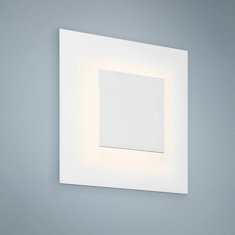 "Center Eclipse 8""H Textured White LED Wall Sconce"