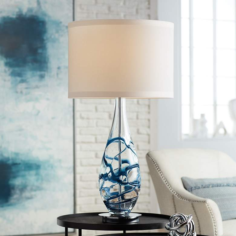 Indigo Swirl Blue Art Glass Table Lamp