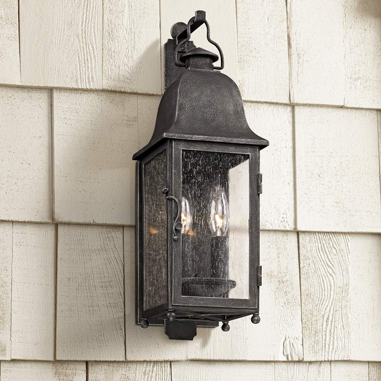 "Larchmont 19"" High Aged Pewter Outdoor Wall Light"