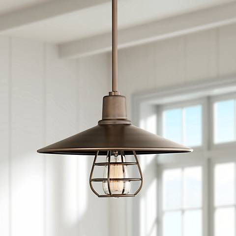 "Garryton Industrial 14"" Wide Oil-Rubbed Bronze Pendant Light"