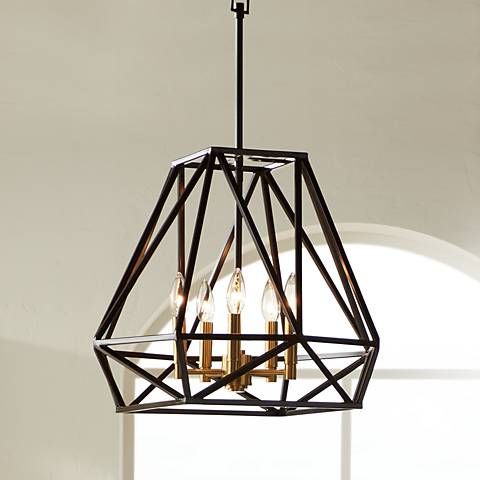 "Hawking 5-Light 20"" Wide Bronze Pendant Chandelier"