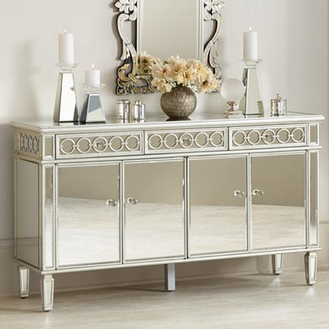 Elizabeth Silver Mirrored 4-Door Buffet Cabinet