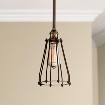 "Avenel Industrial Edison 5 1/2"" Wide Bronze Mini Pendant"