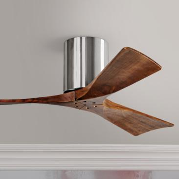 "42"" Matthews Irene 3-Blade Walnut-Chrome Hugger Ceiling Fan"