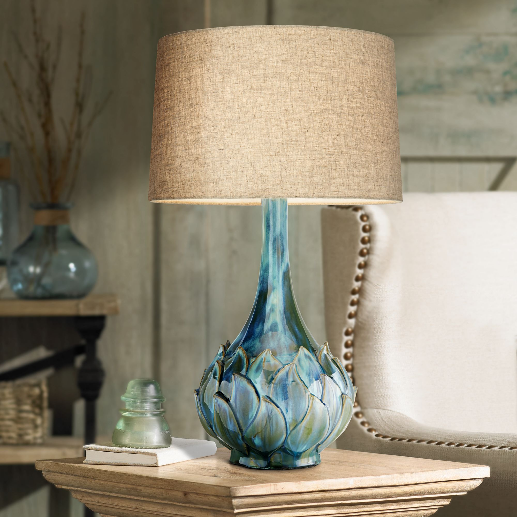 Possini Euro Kenya Blue Green Ceramic Table Lamp