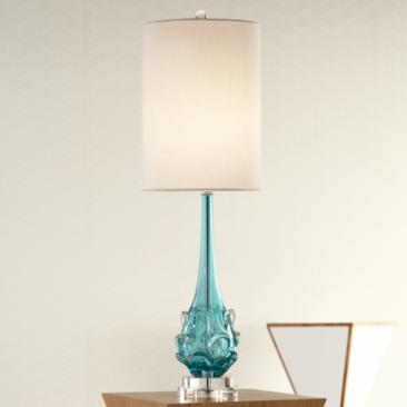 Possini Euro Dinah Blue Art Glass Table Lamp