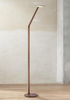 Reading and task floor lamps lamps plus possini euro magnum french bronze task led floor lamp mozeypictures Image collections