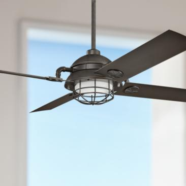 "65"" Kichler Maor LED Olde Bronze Cage Ceiling Fan"