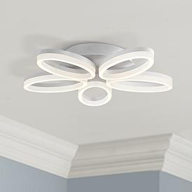 Possini Euro White Bloom 21 1 2 Wide Led Ceiling Light