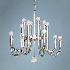 Jonathan Adler Milano 28 Wide Polished Nickel Chandelier