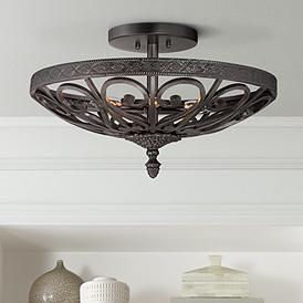 Kathy Ireland La A Black Iron Ceiling Light