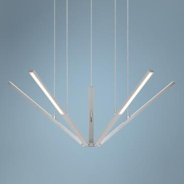 "Starflex 34""W Bright Satin Aluminum LED Pendant Light"