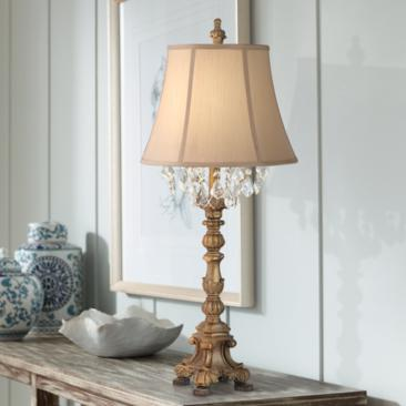 Duval Aged Gold Crystal Candlestick Table Lamp
