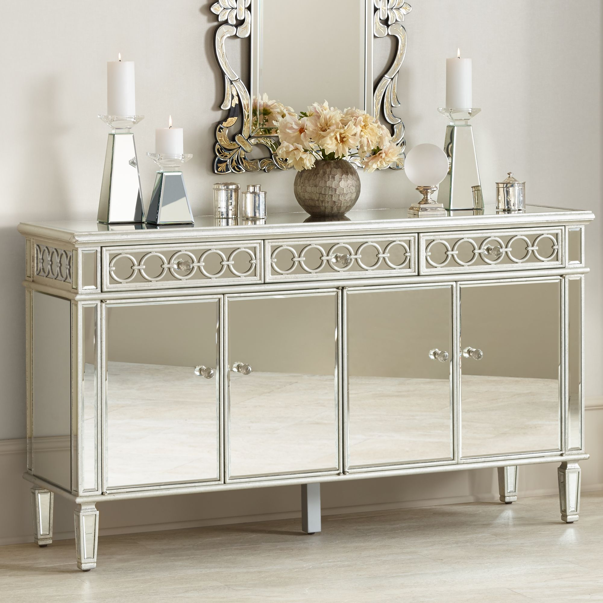 Elizabeth Silver Mirrored 4 Door Buffet Cabinet