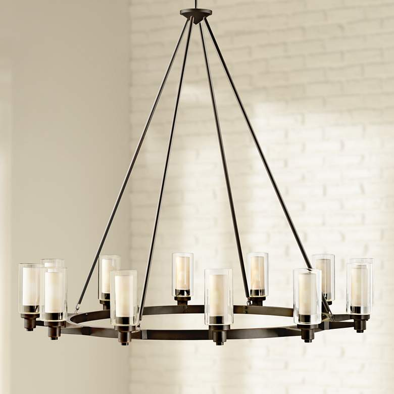 "Circolo 44 1/2"" Wide Olde Bronze Wagon Wheel Chandelier"