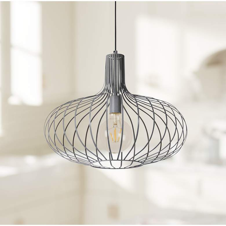 "Florabelle 19 3/4""W Textured Gray Open Cage Pendant Light"