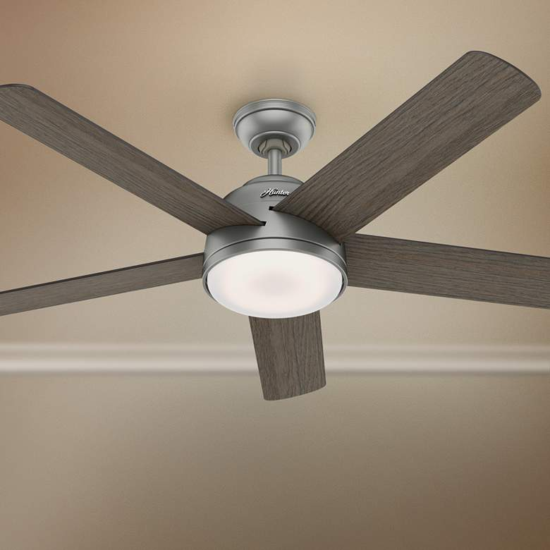 "54"" Hunter Romulus Matte Silver LED Ceiling Fan"
