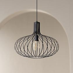 "Ione 19 3/4"" Wide Textured Black Open Cage Pendant Light"