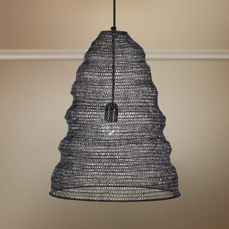 "Garatun 12""W Brushed Gray Mesh Metal Mini Pendant Light"