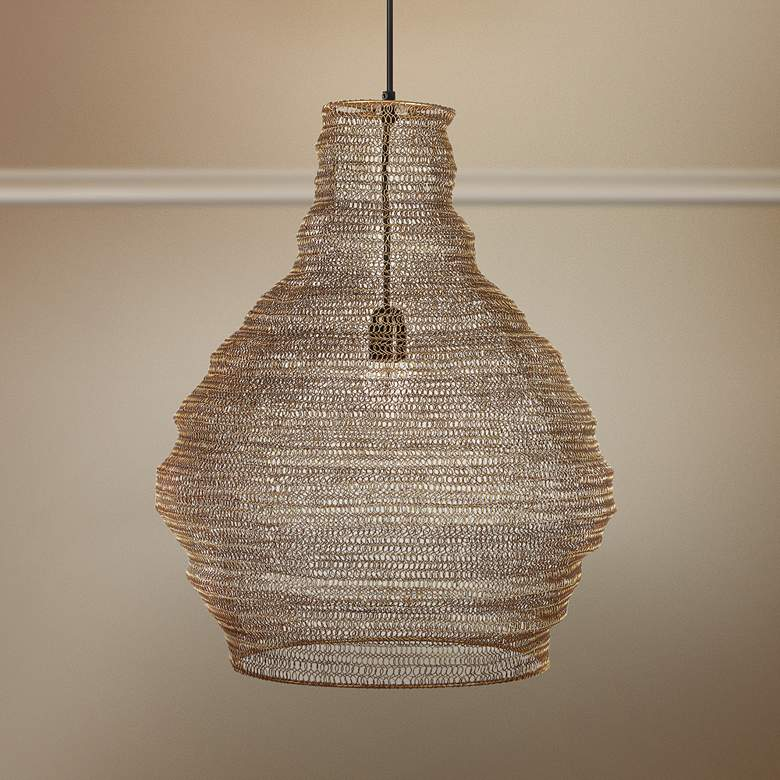 "Gere 16"" Wide Gold Mesh Metal Pendant Light"