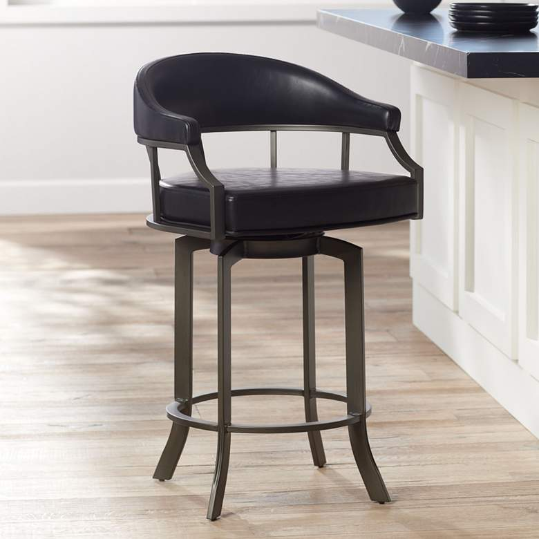 "Edy 26"" Black Faux Leather Swivel Counter Stool"