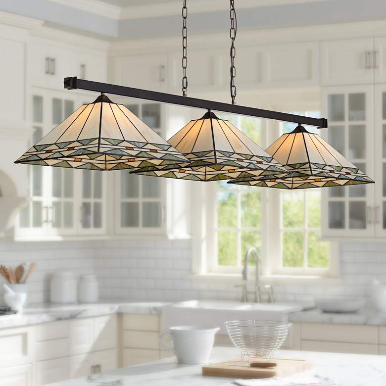 "Pleske 56"" Wide Mission Square Kitchen Island Light"
