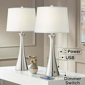 Karl Full Range Dimmer Brushed Nickel Lamp Set of 2 with USB