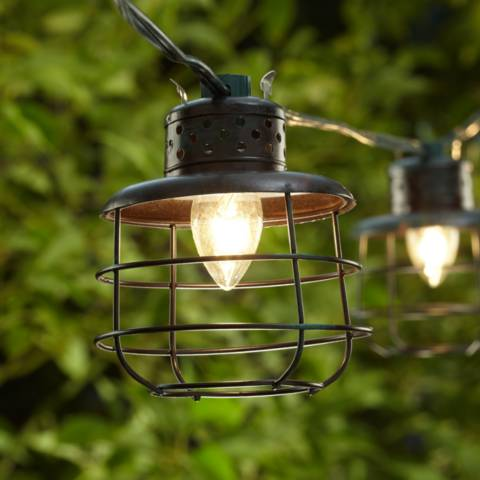 patio string lights metal cage lantern string lights 10 light strand 30618