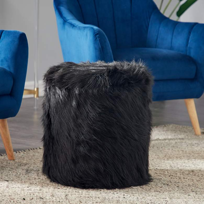 Carminna Black Faux Fur Round Accent Stool with