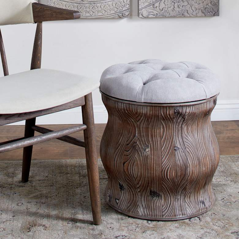 Newl Light Gray Tufted Round Wood Ottoman with