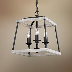 "Teagan 14 1/2""W Natural Black 3-Light Foyer Pendant Light"