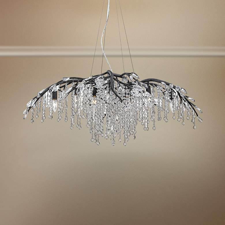 "Autumn Twilight 40"" Wide Black Iron and Crystal Chandelier"