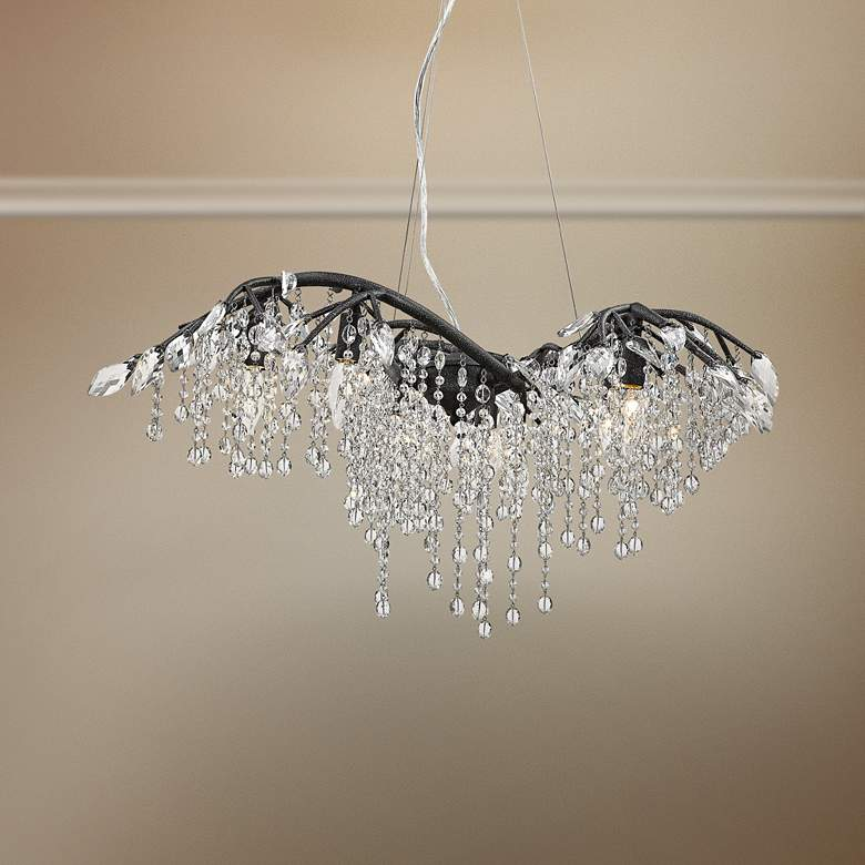 "Autumn Twilight 31"" Wide Black Iron and Crystal Chandelier"