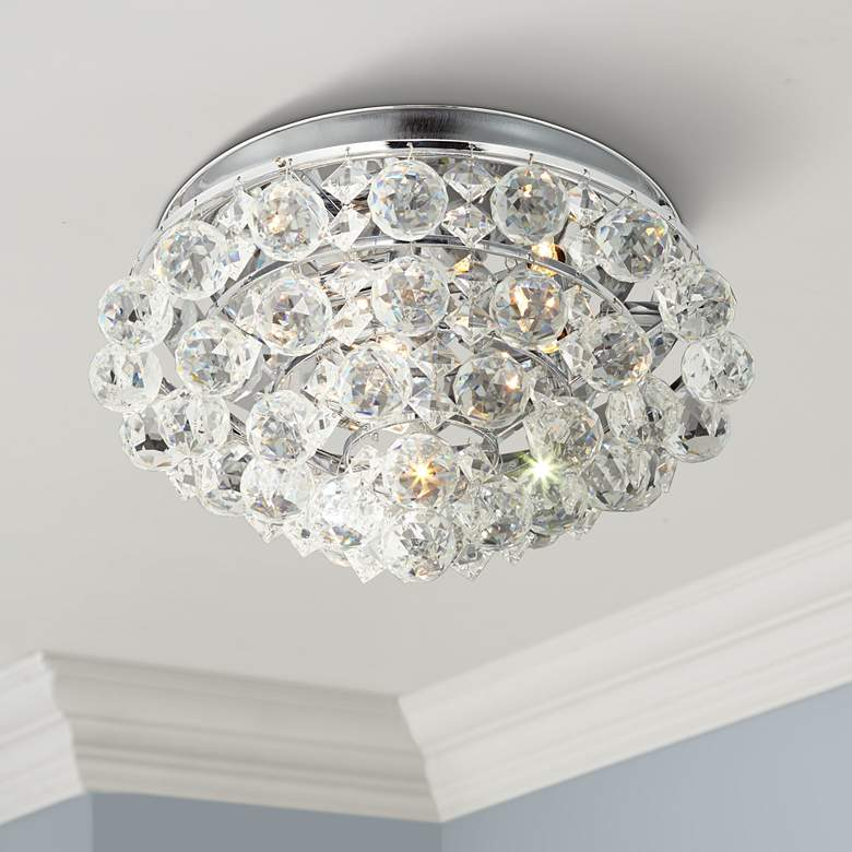 "Aloise 14"" Wide Chrome and Crystal 3-Light LED"