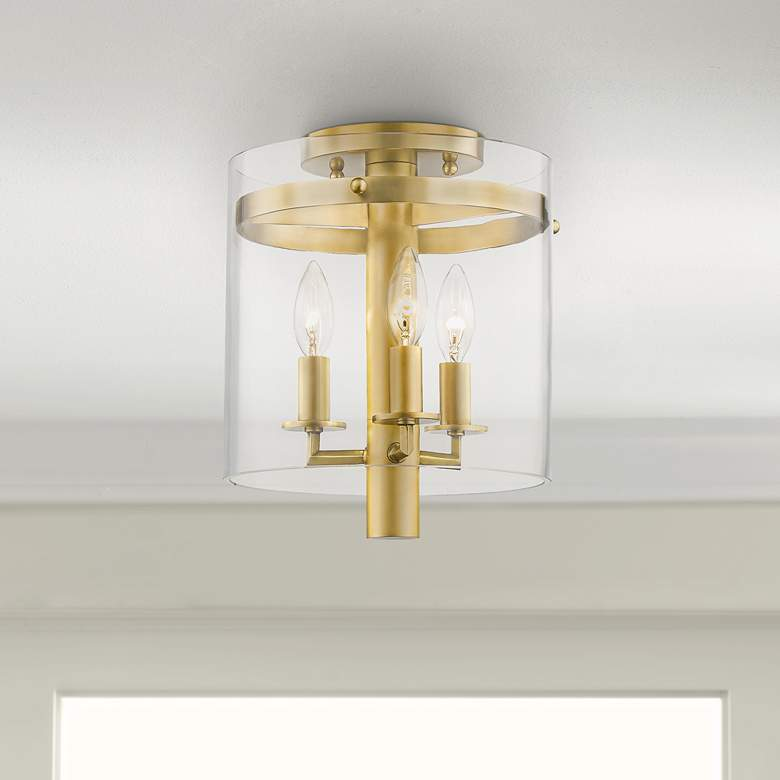 "Hudson Valley Baxter 10""W Aged Brass 3-Light Ceiling"