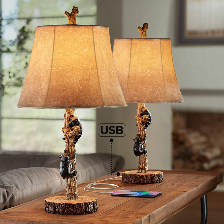 Climbing Bears USB Table Lamps Set of 2