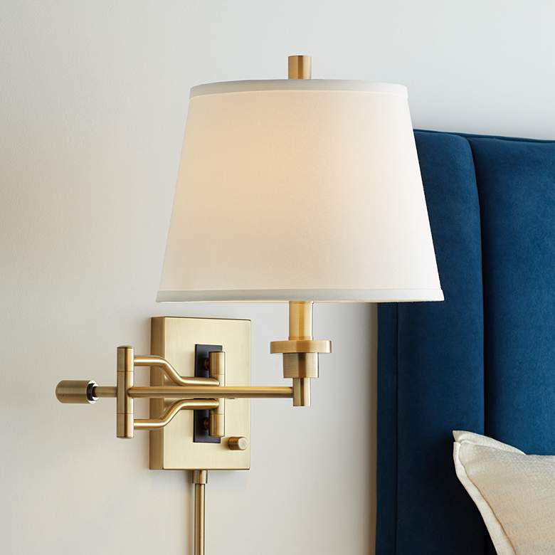 Eleganta Brushed Satin Brass Swing Arm Wall Lamp